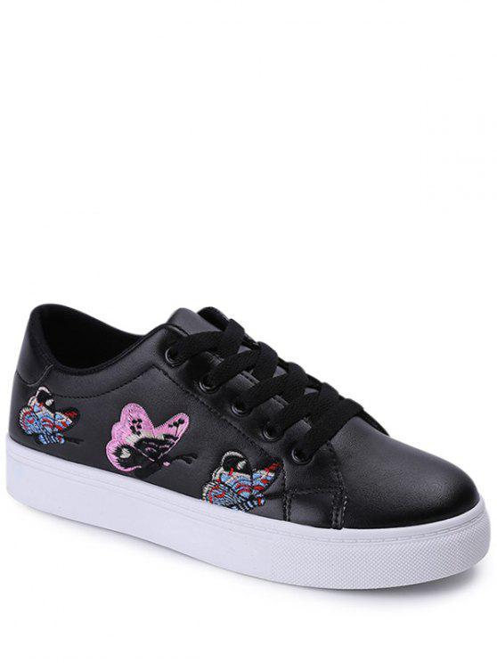 Broderie Tie Up Butterfly Pattern Flat Shoes - Noir 39