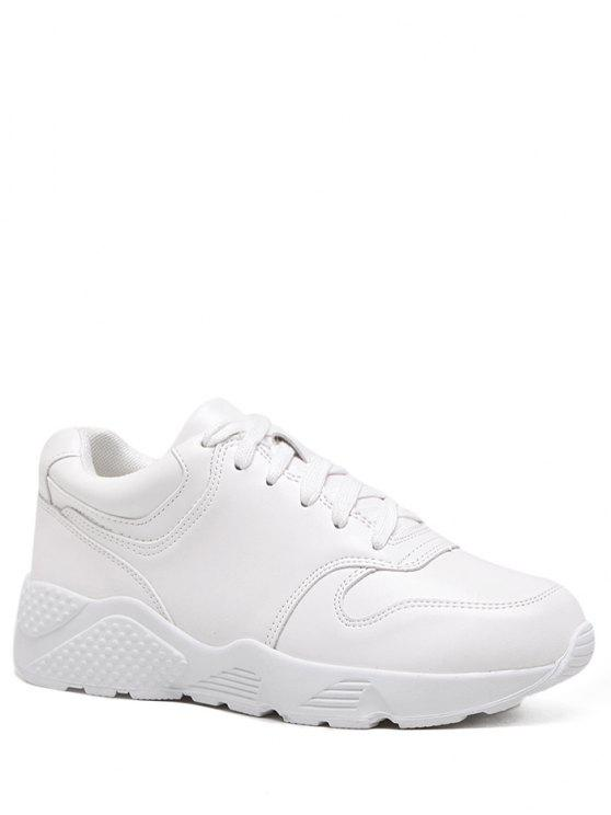 fancy Running Faux Leather Sneakers - WHITE 37