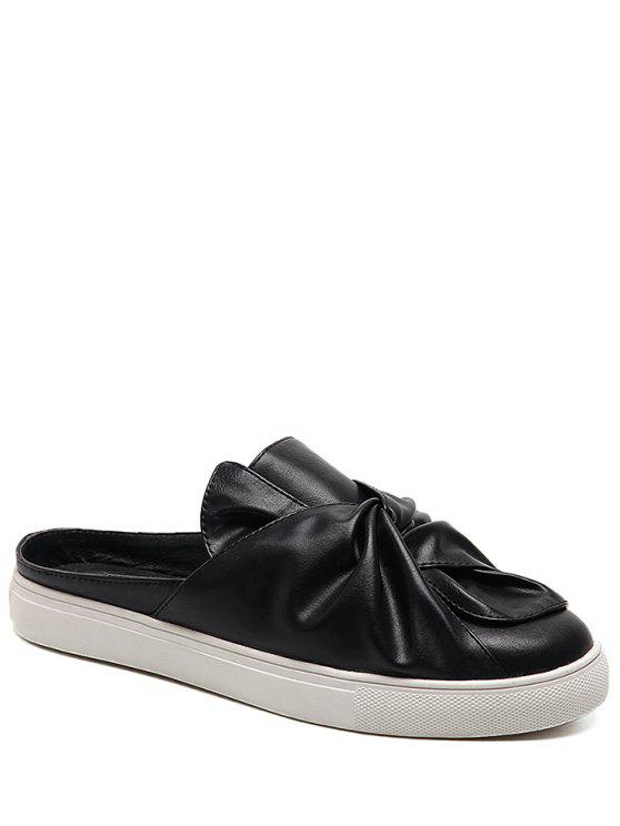Faux Leather Bowknot Slip On Flats - Noir 37