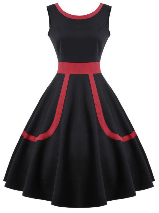فستان كلاسيكي ملائم وتوهج - أسود L