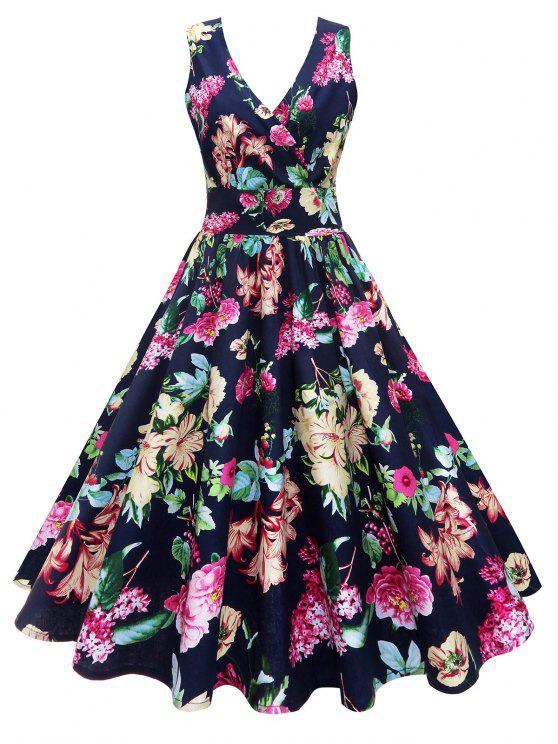 ميدي الخامس الرقبة سوربليس الزهور خمر اللباس - الأزهار XL
