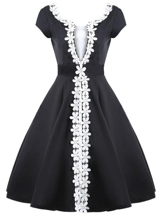 يزين التباين اللون اللباس خمر - أسود XL
