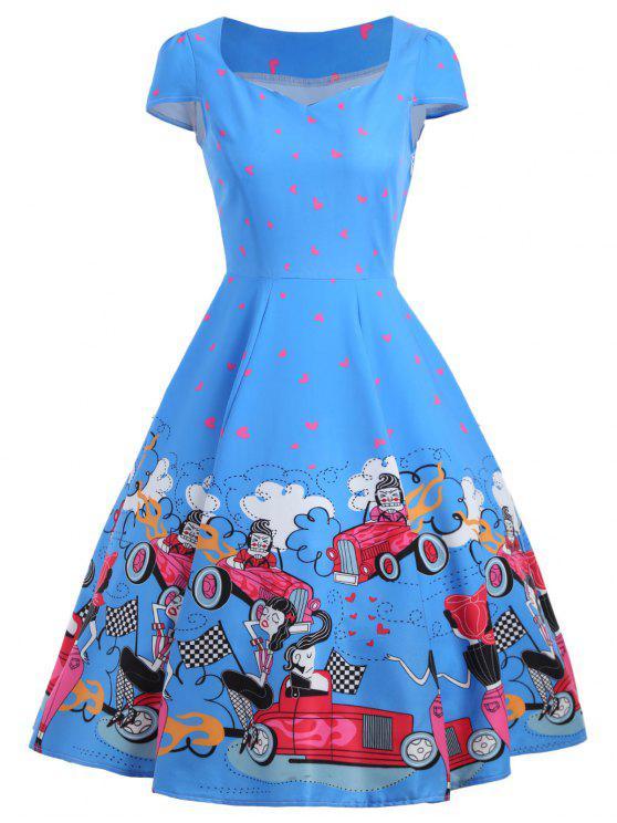 فستان كلاسيكي طباعة - أزرق M