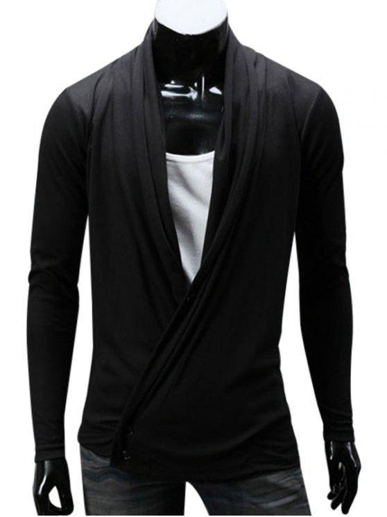 شال طوق تصميم زر يمزج القطن سترة - أسود 4XL