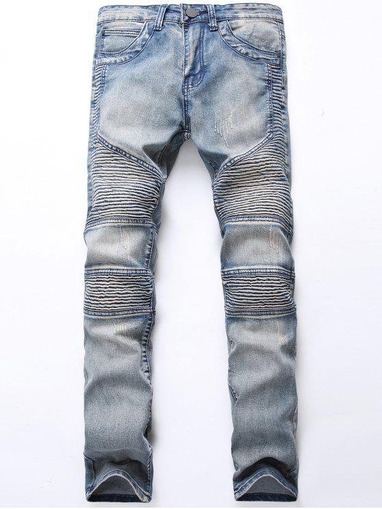 Light Wash Zip Fliegen Biker Jeans - Schiefer Grau 34