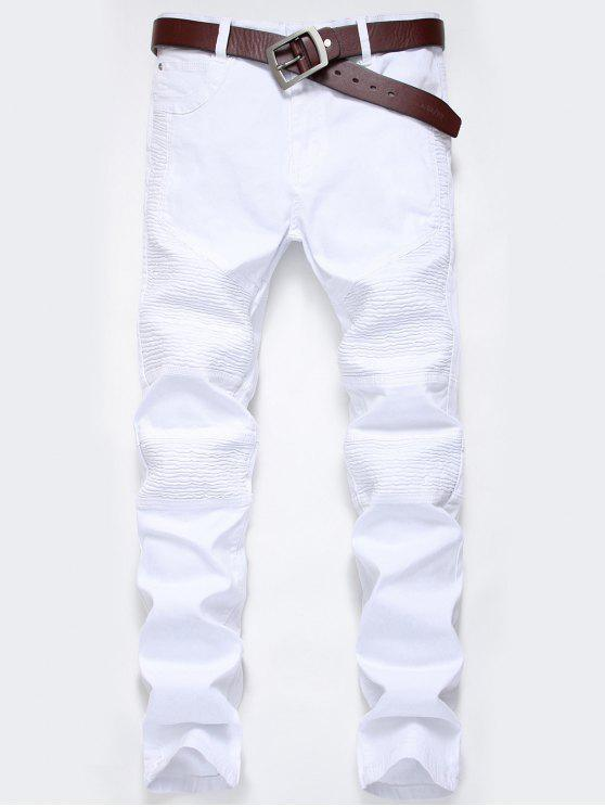 latest Zip Fly Pleat Design Biker Jeans - WHITE 34