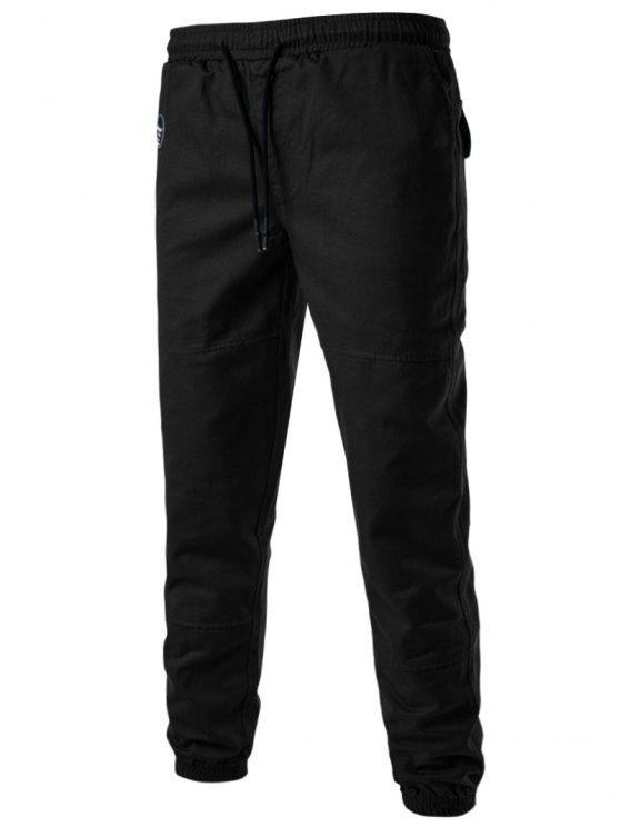 الرباط شعاع قدم الظهر جيوب عداء ببطء السراويل - أسود 3XL