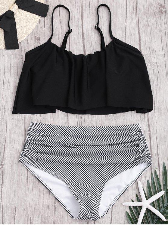 Ensemble Bikini Rayé à Taille Haute Grande Taille - Noir XL