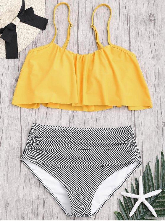 Ensemble Bikini Rayé à Taille Haute Grande Taille - Jaune 3XL