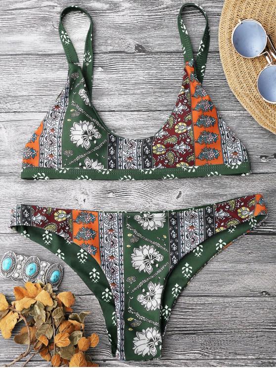 lady Patchwork Print Bralette Scoop Bikini Set - ARMY GREEN M