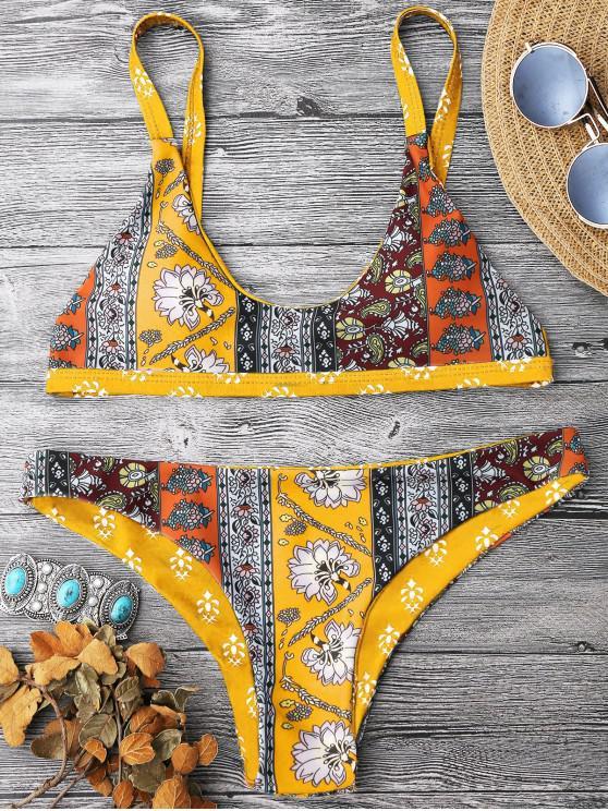 women Patchwork Print Bralette Scoop Bikini Set - YELLOW M