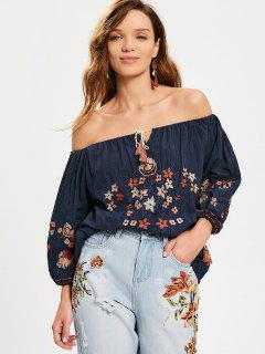 Floral Embroidered Off The Shoulder Blouse - Purplish Blue