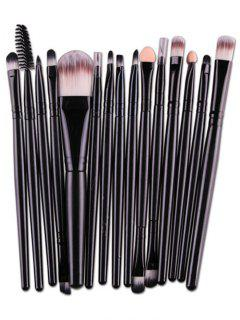 Stylish Multifunction 15 Pcs Plastic Handle Nylon Makeup Brushes Set - Black