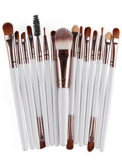 Stylish Multifunction 15 Pcs Plastic Handle Nylon Makeup Brushes Set - White And Brown