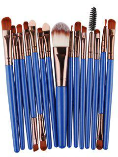 Stylish Multifunction 15 Pcs Plastic Handle Nylon Makeup Brushes Set - Brown + Blue