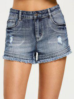 Cutoffs Destroyed Denim Shorts - Denim Blue L