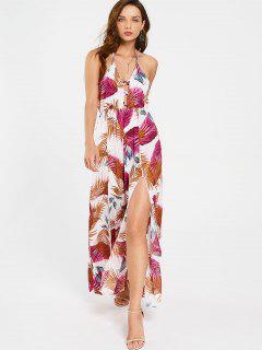 Tropisches Maxi Kleid Mit Kreuzgurte Und Schlitz - Blumen Xl