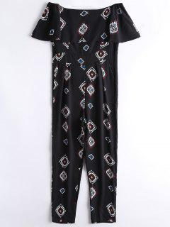 Geometric Overlay Off Shoulder Jumpsuit - Black L