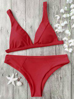 Padded Plunge Bikini Top And Bottoms - Red S