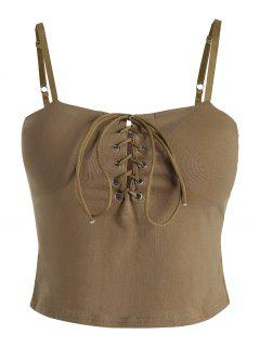 Lace Up Cami Crop Top - Khaki S