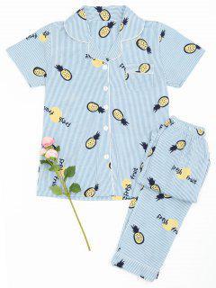 Camisa De Piña De Frutas A Rayas Con Pantalones - Raya L