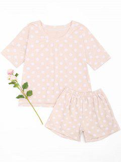 Polka Dot Loungewear T-shirt And Shorts - Pink Xl