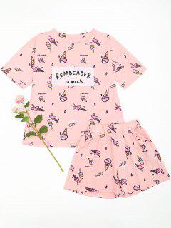 Ice Cream Cute Loungewear T-shirt And Shorts - Pink L