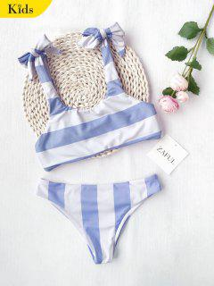 Ruched Tie Knot Striped Kid Bikini Set - Blue And White 6t