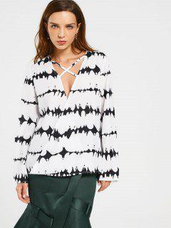 Criss Cross Splatter Paint Blouse - White And Black Xl