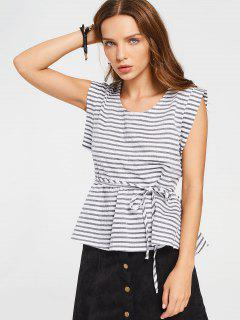 Sleeveless Stripes Belted Blouse - Stripe Xl
