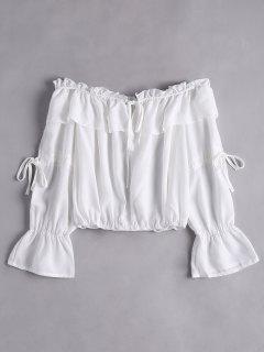 Ruffled Flare Sleeve Off Shoulder Blouse - White M