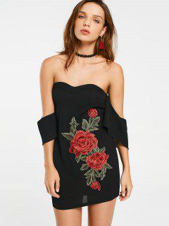 Embroidered Patches Off Shoulder Bodycon Dress - Black S