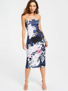 Floral Midi Sheath Tube Dress - Floral L