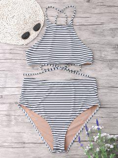 Plus Size Stripe High Neck Bikini Set - White 3xl