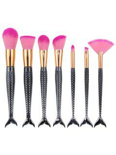 7Pcs Plated Mermaid Shape Makeup Brushes Set - Black Grey