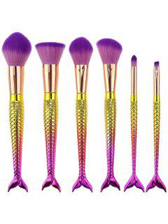6Pcs Ombre Mermaid Tail Facial Makeup Brushes - Pinkish Purple