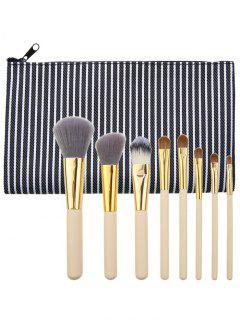 Cepillos Multiusos Portables Del Maquillaje 8Pcs Fijados Con El Bolso - Negro