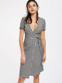 Checked Ruffles Wrap Casual Dress - Checked S