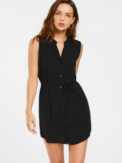 Belted Button Up Longline Shirt - Black M