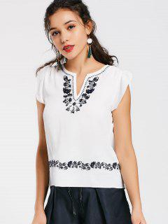 Rüschen Mit Blumen Bestickte Bluse - Weiß S