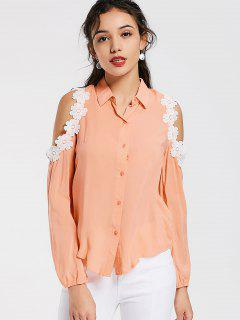 Cold Shoulder Lace Trim Shirt - Orangepink S