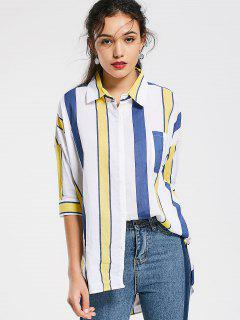 Stripes Oversized High Low Shirt - Stripe