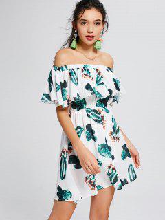 Aus Der Schulter Flounce Bedrucktes Kleid - Weiß Und Grün Xl