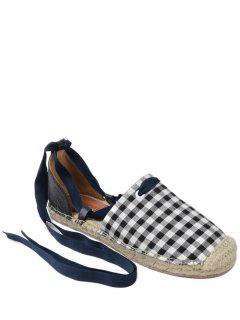 Plaid Pattern Stitching Tie Up Flat Shoes - Checked 40
