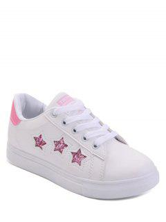 Star Pattern Lace Up Sequins Flat Shoes - Pink 38