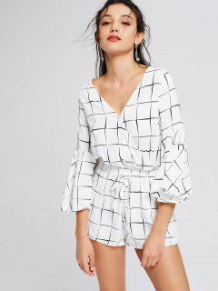 Plunging Neck Flare Sleeve Checked Romper - Checked Xl