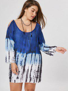 Plus Size Tie Dye Cold Shoulder Tunic Dress - 2xl