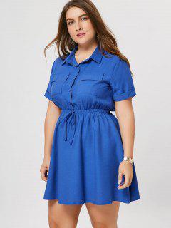 Plus Size Cuffed Shirt Dress - Blue 4xl