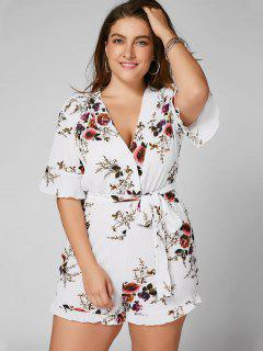 Floral Textured Plus Size Romper - White 3xl