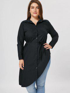 Plus Size Button Up Asymmetrical Shirt - Black 3xl